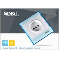 Quality Europe standard one gang electric wall socket safe with blue plate for sale