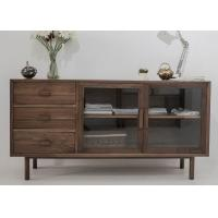 Quality Modern Wooden Television Stands 2 Glass Doors And 3 Drawers Dark Wood TV Cabinets for sale