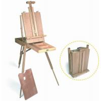Quality Wooden Painting Easel Art Stand , French Sketch Box Easel With Palette Belt Aluminium Tray for sale
