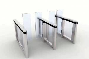 China Servo Motor SS304 Glass Turnstile Gate With Card Reader on sale
