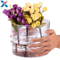 Quality Waterproof Acrylic Flower Box Makeup Organizer Holder Round Shape ROHS Approval for sale