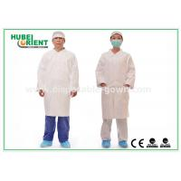 Buy Tyvek disposable white lab coats , medical protective clothing Korean Collar and Zip at wholesale prices