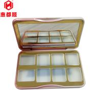 Quality Makeup Custom Logo Rectangular Metal Empty Eyeshadow Palette with hinge Lid ,8 color eyeshadow tin box for sale