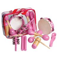 Quality 6 Pcs Pink Wooden Percussion Kids Musical Instrument , Customized Pattern for sale