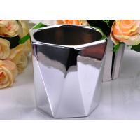 Quality Electroplating Finish Color Hexagon Ceramic Candle Holder / Jar Environmental friendly for sale