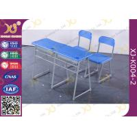 Quality Double School Desk And Chair With Cabinet / Colorful Steel Frame Fixed for sale