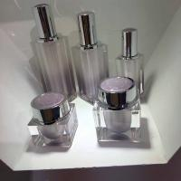 Quality new 30ml  50ml Cosmetic Packing Square Acrylic Cream Jar And Acrylic Lotion Bottle Acrylic pot for sale