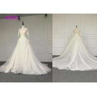 Crystal A Line Ball Gown Wedding Dress / Tulle Long Sleeve Ball Gown Wedding Dress