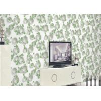 Quality Green Plants And Round Pattern 3D Embossed Wallpaper Surface Treatment for sale