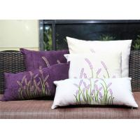 Quality Velvet Lavender Decorative Cushion Covers Embroidered Sofa Pillow Covers for sale
