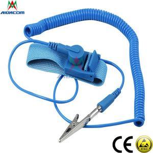 Quality RoHS EPA Copper Button Blue 3.6m Cord ESD Wrist Strap for sale