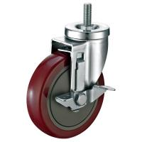 """Quality Red PU Industrial Caster Wheels For Food Service Equipment 5""""X1-1/4"""" for sale"""