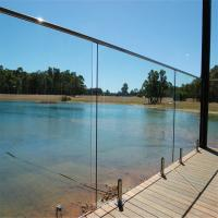 Quality Clear Glass Panel steel polish spigots design railing system for fence for sale