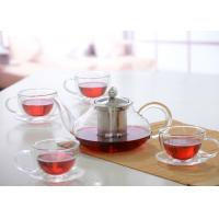 Quality Elegant Hand Made Glass Tea Pot Set With Stainless Steel Infuser And 5pcs Glass Tea Cups for sale