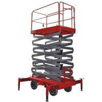 China 14m 500kg Manual Pushing Mobile Telescoping Lift Red Hydraulic Elevator Aerial Work Platform on sale
