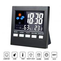 Indoor 12/24 Hour Time Display Digital LCD Weather Clock With Backlight for sale