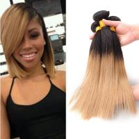 Quality 7A Ombre Human Hair Extensions Brazilian Virgin Hair Straight Color 1B / 27 for sale