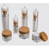 Quality 15ml 30ml 60ml 120ml  cosmetic containers Acrylic bottle and wooden cosmetic jar in stock for sale
