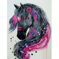 Quality Animal Handcrafts Art Gifts Diy 5d Diamond Embroidery Rhinestone Pasted Painting black horse Bedroom Decoration for sale