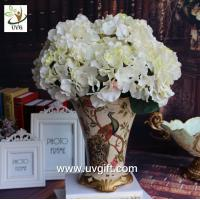 Quality UVG FHY22 White decorative fabric flower artificial hydrangea for wedding table decoration for sale