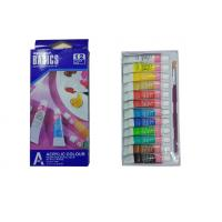 Quality Strong Adhesion Basics Colored Acrylic Paint Set , Artists Paint Pigments 12 X 6ml Tubes for sale