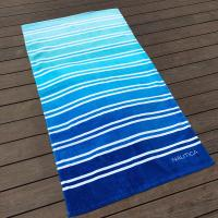 Quality Jacquard Logo Printed Beach Towels / Blue Beach Towel Perfect For Travel for sale
