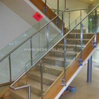 Quality Double Stringer Straight Staircase with Post Glass Railing and Satin s.s and Wood Tread for sale