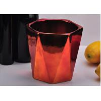 Quality Rose Gold coloured Hexagon Ceramic Candle Jar With Electroplating Finish for sale