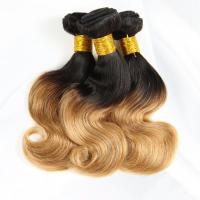 Buy 1B / 30 Two Tone Ombre Human Hair Extensions Brazilian Loose Wave Hair Weave at wholesale prices