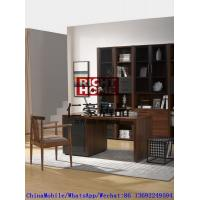 Quality 2016 New Nordic Design Study room Furniture by Walnut wood Office Desk with Armchair and in Wall Bookcase Cabinet for sale
