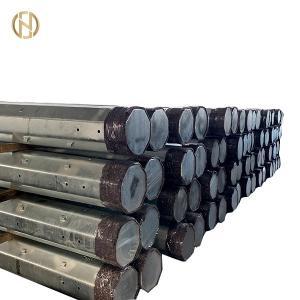 Quality 8 Side Tubular Steel Pole , 10.5M 35FT Steel Utility Pole 300daN 3KN Q460 for sale