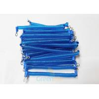 Quality Terminal Ends PU Coiled Security Cable Blue Lanyard Light Weight 1.4 Metre for sale