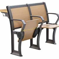 Quality Foldable Iron Metal Plywood Wooden Desk And Chair Set For School Lecture Hall for sale