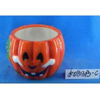 Quality Pumpkin Small Ceramic Flower Pots Ghost Design 15 X 15 X 15 Cm For Halloween for sale