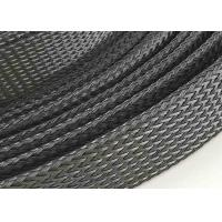 Quality Customized PET Expandable Braided Sleeving , Black Color Flexible Cable Sleeve for sale