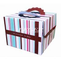 Quality OEM Corrugated Cardboard Boxes , Custom Birthday Cake Box with carry handles for sale