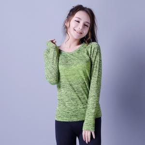 Quality Casual sportswear,   seamless sports shirt,  green & black,  knitwear,  Long sleeve,    XLLS009,  woman T-shirts, for sale