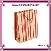 Quality Block Bottom Red Stripes Paper Party Bags/Rope Handle Paper Carrier Bags ME-BG010 for sale