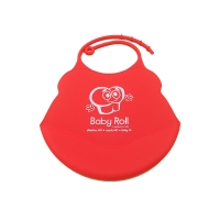 Quality 100 % Food Grade Silicone Baby Bibs Red Bird Shape With Food Catcher Small Size for sale