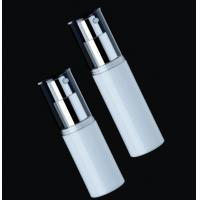 Quality empty plastic cosmetic airless  white  bottle with silver pump 15ml  30ml for sale