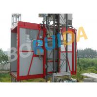 Quality Red Construction Material Hoist Single Cage , Electric Ladder Lift for sale