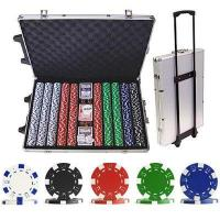 1000 Striped Dice Poker Chip Set with Trolley Case