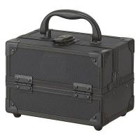 """Quality Cosmetic Case Mini Train Case is just the right size for toting a weekend's worth of beauty essentials, hair and makeup brushes, combs, accessories, or jewelry. Product Features:7-1/2"""" x 5"""" x 5"""" closed size Black diamond pattern aluminum surface, bla for sale"""