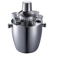 Quality IB010-02 Stainless Steel Barware Wine Cooler Ice Bucket With Cups and Shaker for sale