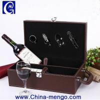 Quality PU Leather Single Wine Bottle Gift Box with accessories Wholesale for sale