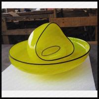 China Decorative Mouthblown Modern Art Glass Plate Shape Vase Set on sale