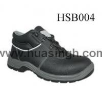 Quality Hotselling Product black leather safety work shoes with white reflective strip for sale