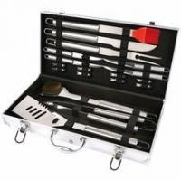 Quality 19 pcs steel BBQ tool set with Aluminum case for sale