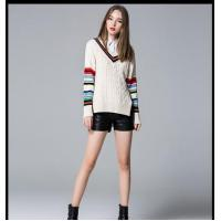 Quality 100%cotton stripped cable pullover ladies' knitted sweater 2016 for sale