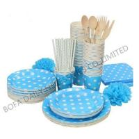 Quality PRODUCT White dot printing tableware set paper party tableware set for sale